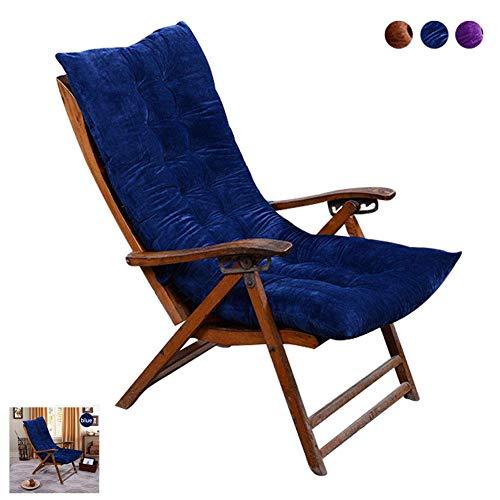 BYWHITE Cojín para Tumbona Cojín Engrosada Cojín de baño de Sol para Silla Suave Silla Mecedora Interiores 1pcs Cojín para Tumbona Cojines de Asiento Terraza Jardín-50X120cm Azul