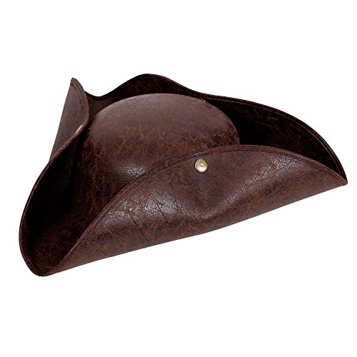 Deluxe Pirate Hat - Distressed Leather Fancy dress accessory