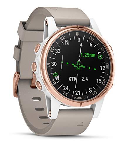 Garmin Smartwatch D2 Delta S Aviateur Saphir Or Rose avec Bracelet en Cuir Beige 010-01987-31