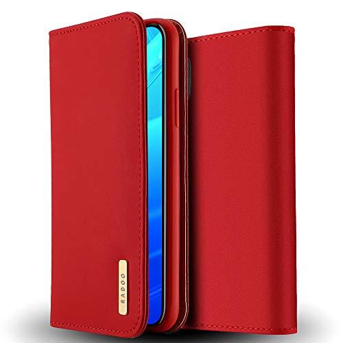 Radoo iPhone XS Max Echt Ledertasche/Hülle, Premium Echtes Leder Klapphülle Slim Lederhülle TPU Innenraum Hülle Schlanke Ledertasche Handyhülle für Apple iPhone XS Max 6.5 Zoll (Rot)
