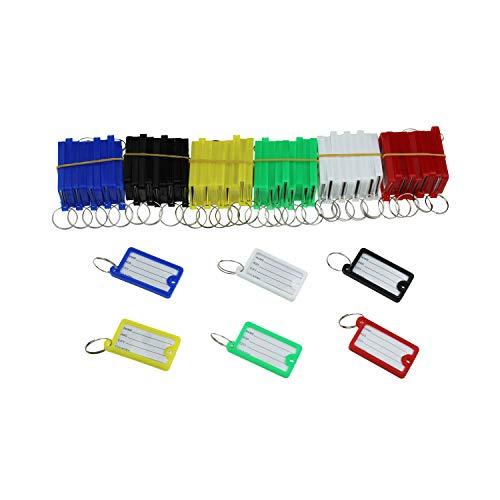 Kunststoff-Schlüsselanhänger, 60 Stück, 6 Farben, sortiert, Adress-Etiketten mit Schlüsselring