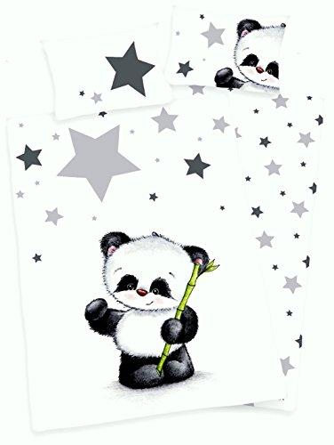 3 tlg. Baby Bettwäsche Wende Motiv Panda renforcé 100x135 cm + 40x60 cm + 1 Spannbettlaken 70x140 cm (mit Laken: silber)