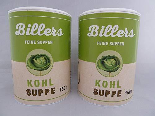 Biller Kohlsuppe Doppelpack Instant Diät Suppe Slim vegan glutenfrei ohne Glutamat vegetarisch 2x 150g Dose