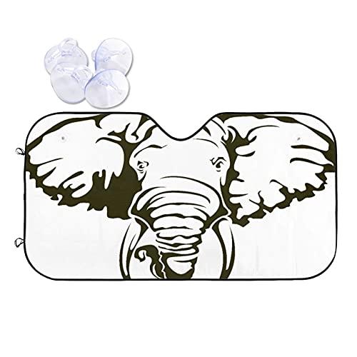 "NOLYXICI Car Windshield Sun Shade,Big African Elephant Tattoo Dumbo Ears Tusks,UV Reflector Auto Front Window Sunshade Visor Shield Cover,Keep Vehicle Cool,51""x 27.5"""
