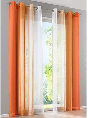 SIMPVALE 2 Pezzi Tende Trasparente - Tenda in Voile di Colore Stile Sfumato per Camera da Letto Soggiorno Balcone, Arancione con Bianco, 140x265cm