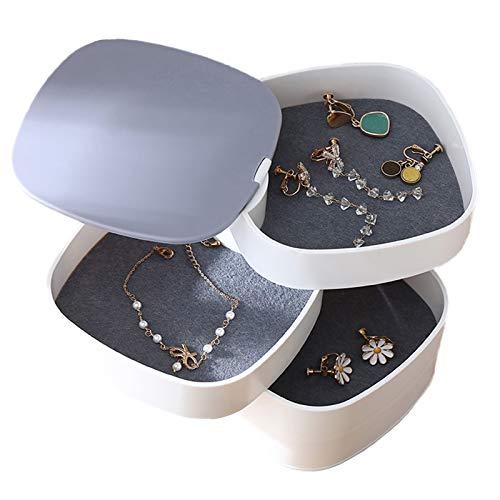 Joyero Organizador Rotación de 360°Caja Organizador de joyería blanca giratoria Joyero de 4 Capas Redondos joyería almacenamiento caja de almacenam para almacenamiento Pendientes femeninos Collares