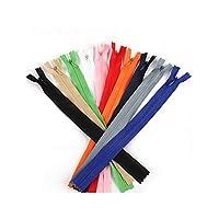 10個入り/袋ロングジッパーDIYのナイロンコイルジッパーのために縫製衣服アクセサリー、ミックスカラー、2.3センチメートル幅、35センチメートル