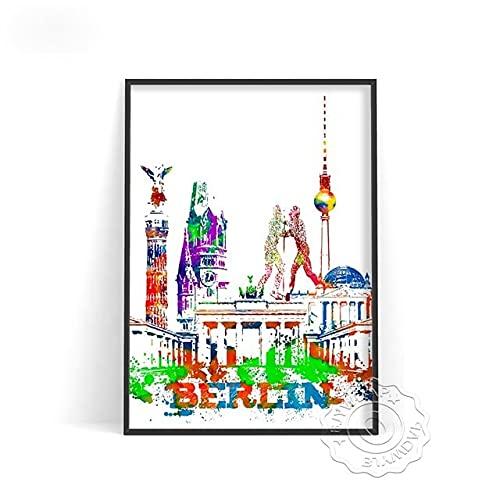 linbindeshoop Color World City Poster York Paris Moscow Wall Art Dubai Roma Wall Stickers San Francisco Rio De Janeiro Travel Poster(LT-390) 50x70cm No frame