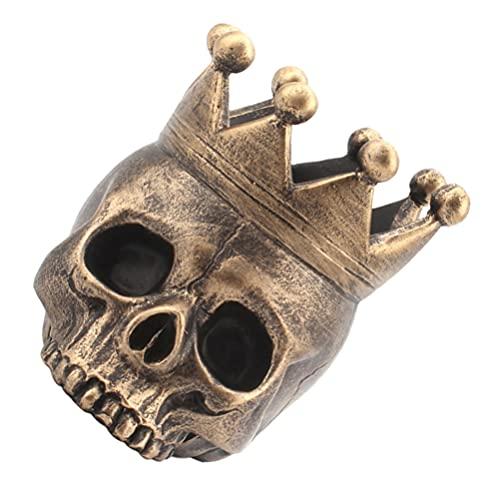 Abaodam Cabeza de calavera humana de resina, cabeza de hueso con soporte de vela, estatua para joyas, organizador de pendientes, decoraciones de mesa de Halloween