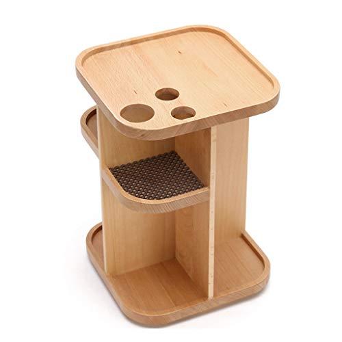 Zyj stores-Coffret Maquillage en Bois 360 degrés Rotation boîte de Rangement cosmétique en Bois Bureau Dressage Tableau de Soins de la Peau (Color : Wood, Taille : S)