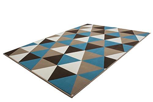 Kayoom Tapis Moderne Shaggy geometr. Motif Triangle Effet 3D-Effekt Multi Turquoise - Turquois, 80cm x 150cm