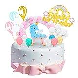 DUOUPA Einhorn Tortendeko Geburtstag Kuchen Kuchen Topper 16er Set einschließlich Einhorn, Ballon, Happy Birthday, Wolke, Stern Hairball Bogen für Kinder Mädchen Junge