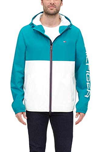 Tommy Hilfiger Men's Lightweight Active Water Resistant Hooded Rain Jacket, Teal/Ice Colorblock, XX-Large