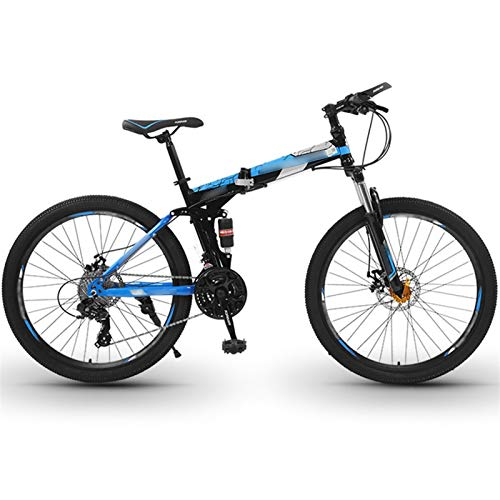 Mountain Bike, 26 Inch Wheels High-carbon Steel MTB Bicycle with Dual Disc Brakes, Adult Bike for Men Women (Color : 24-speed blue, Size : 24inches)