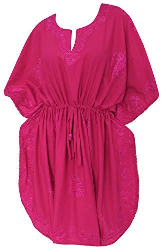 LA LEELA señoras la Mano Suave rayón Bordado túnica Kimono Superior Noche Informal Vestido Bikini relajó Traje baño más tamaño Encubrir Arriba Loungewear Ropa Playa Corta Maternidad caftán Color Rosa