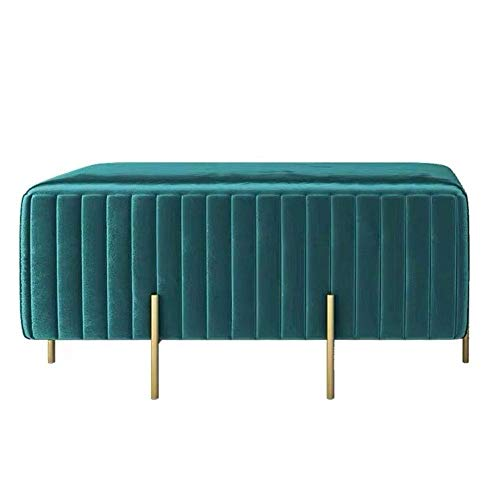 Glove Velvet Foothocker Modern Padded Ottoman Footrest Stool Extra Seat with Golden Legs Living Room Bedroom Decor Peacock Blue 90 x 45 x 42 cm (35 x 18 x 17 inches)