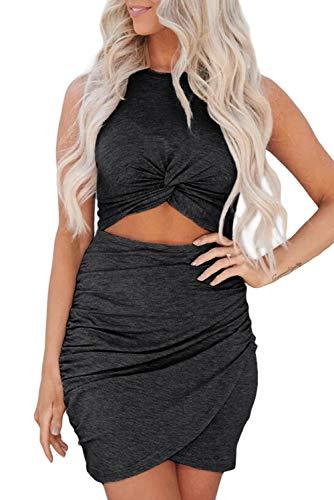 Maavoki Kleider Damen Einfarbiges Ärmelloses Kleid, Sexy Enges Kleid Unregelmäßig Cocktailkleid Partykleider, Slim Fit Rundkragen Sommerkleid für Frauen (Schwarz, XL)