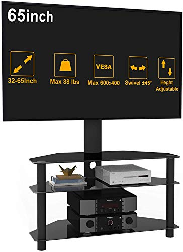 IANIYA TV Stand with Mount for 32 to 55 Inches Curved Screen TV Stand 2Tier Glass Height Adjustable…