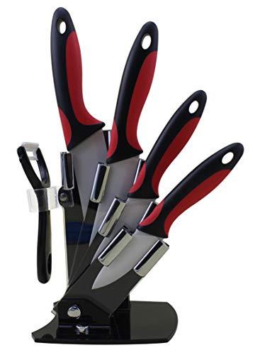 EwigYou 6-TLG Keramikmesser-Set 4 Keramikmesser und 1 Sparschäler Allzweckmesser Messer Küchenmesser mit Messerblock