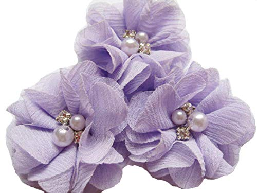 YYCRAFT Pack of 20 Pieces Chiffon 2' Flower Rhinestone Pearl for Craft Projects-Lavender