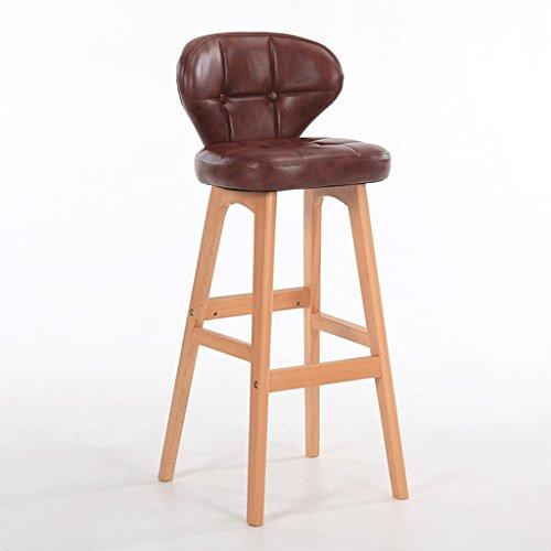 Minimaliste, bois massif, cuir artificiel coussin bar réception européenne chaise en bois banc Vintage tabouret de bar hauteur 68cm -by BOBE SHOP (Couleur : Brown, taille : A)