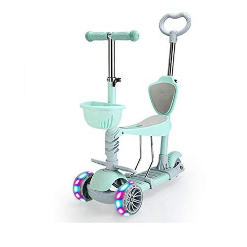 YCXTY Cochecito de bebé Plegable de Tres Ruedas 5 en 1 con Flash Scooter para niños Andador para bebés Paseo para niños pequeños en un Coche de Juguete