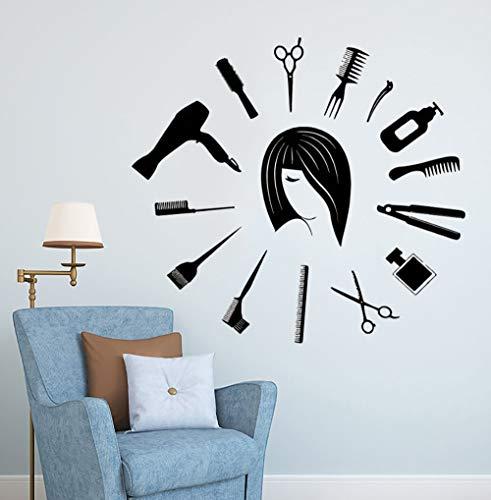 Geiqianjiumai Barbershop tools vinyl muur klok vorm muur sticker muur haar studio decoratie kapper kapsel kunst venster poster