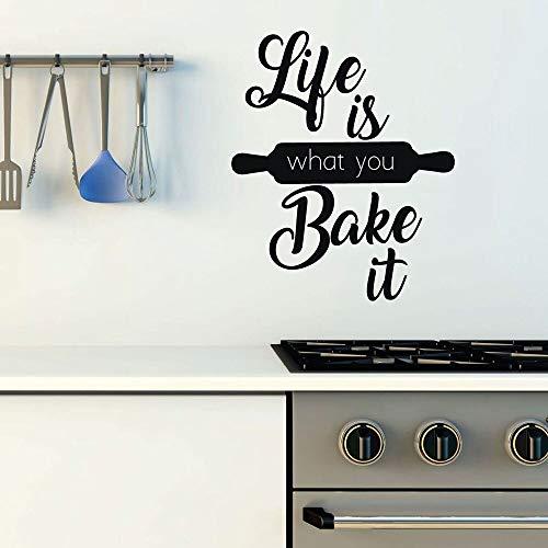 Calcomanías de vinilo para pared la vida es lo que quieres para hornear puertas y ventanas pegatinas para el refrigerador cocina tienda para hornear decoración del hogar regalos de chef