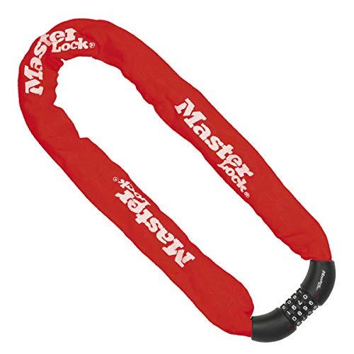 Master Lock Bike Chain Lock [Combination Lock] [90 cm Chain] [Red] 8392EURDPROCOLR - Ideal for Bike, Electric Bike, Mountain Bike, Road Bike, Folding Bike