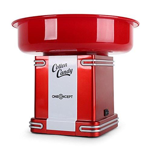 oneConcept Candyland 2 - Macchina Zucchero Filato, Macchina per Zucchero Filato, Potenza Riscaldamento 500 W, Raccoglitore, 31 cm (Ø), Bastoncino Incluso, Colore Rosso