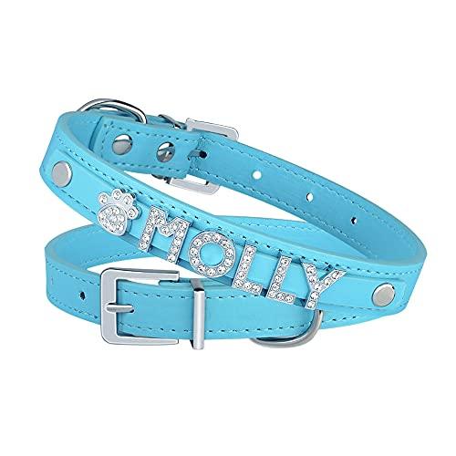 Personalizar DIY Letras de Diamantes de imitación Collares de Perro para Mascotas Collar y dijes de Gato Cachorro Collar de Perro de Nombre Personalizado Collar de Cuero-Azul-Plata_XS_20-27cm
