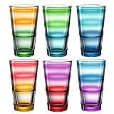 Leonardo Event Trink-Gläser 6 er Set, spülmaschinenfeste Longdrink-Gläser, bunte Trink-Becher aus Glas, farbiges Getränke-Set, 6 Stück, 315 ml 023781