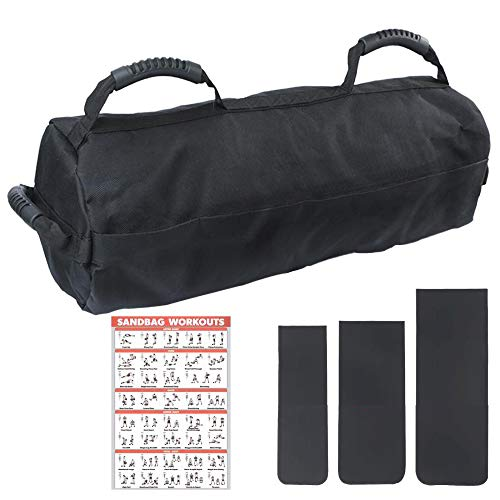 Olywiz Sandbags for Fitness,Heavy Duty Workout Sandbags with 10 to 60 Lbs Adjustable Filler Bags and 6 Rubber Handles Weight Bag for Exercise(No Sand Included).