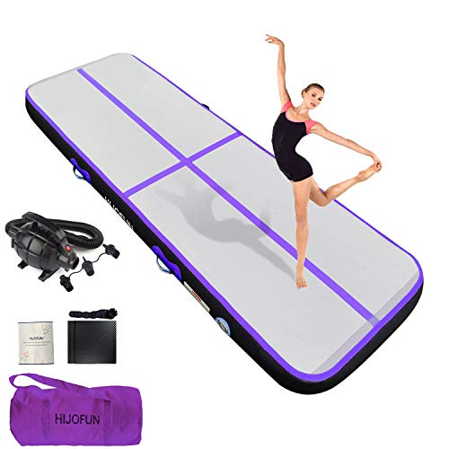 HIJOFUN Premium Air Mat Track 10ftx3.3ftx8in Gymnastics Tumbling Mat Inflatable Tumble Track with Electric Air Pump for Home Kids/Gym/Yoga/Training/Cheerleading/Outdoor/Beach/Park Purple Black