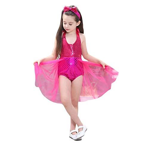thematys Vestido de Princesa con Cinta para el Pelo 2 Piezas - Disfraz para nios Carnaval y Cosplay (130cm-140cm, Rojo)