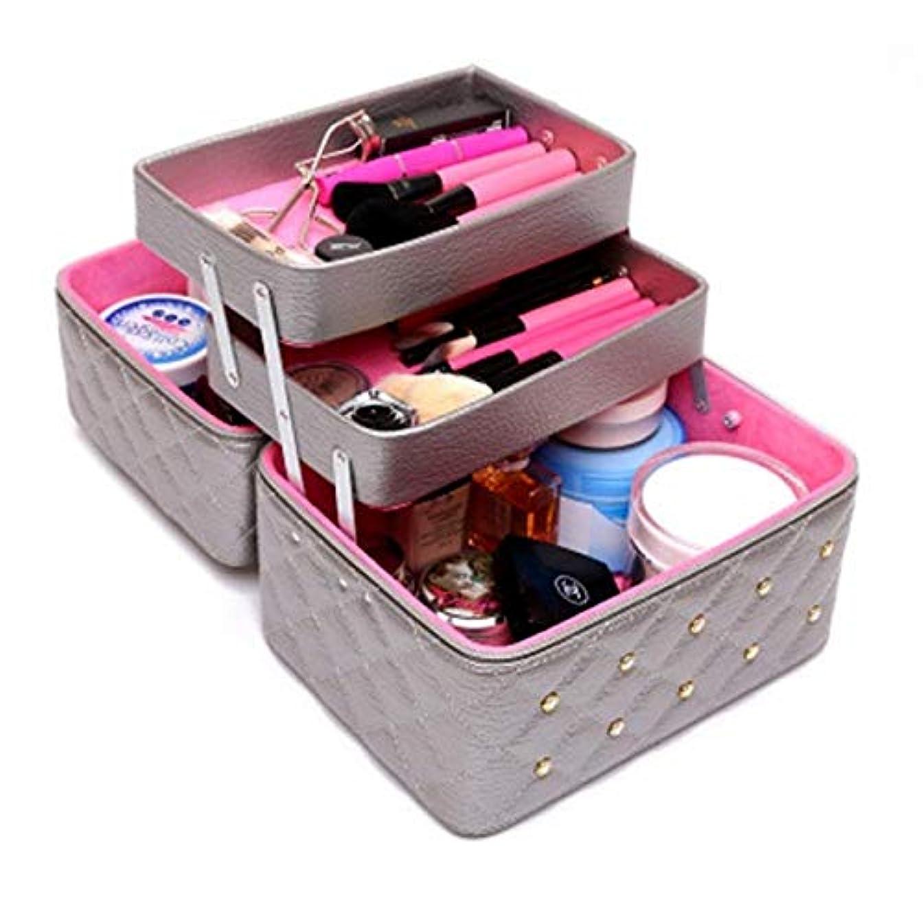 潜在的な極貧経験持ち運びできる メイクボックス 大容量 取っ手付き コスメボックス 化粧品収納ボックス 収納ケース 小物入れ (ライトグレー)