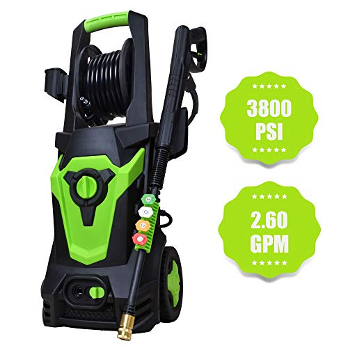 Azoran High Efficiency 3800 PSI 2.6 GPM Electric Pressure Washer with Four Interchange Nozzle, Car Cleaner with Hose Reel and Spray Gun: Black/Green