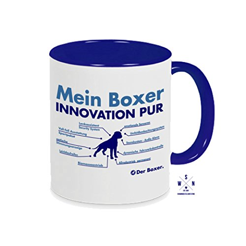 Siviwonder Tasse Kaffeebecher Boxer Innovation Teileliste Hund Hunde Fun blau