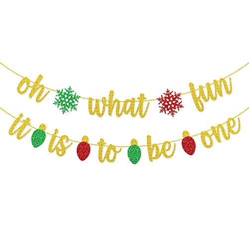 Oh What Fun It Is To Be One Banner Pre-strung for Christmas First 1st Birthday Party Supplies Decorations