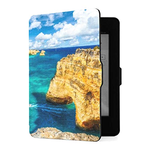 Kindle Paperwhite 1 2 3 Case, Landscape Beautiful Praia Da Marinha One PU Funda de Cuero con Smart Auto Wake Sleep para Amazon Kindle Paperwhite (se Adapta a Las Versiones 2012, 2013, 2015)