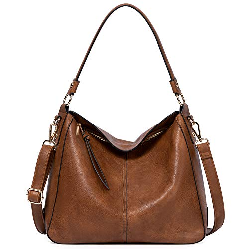 Purses and Handbags for Women Designer Leather Hobo Tote Fashion Ladies Crossbody Large Bucket Shoulder Two Toned Brown