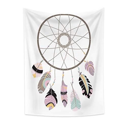 Miueapera Tapiz bohemio con diseño de atrapasueños, diseño de dibujos animados, estilo étnico, atrapasueños, decoración para tiendas de flores, sala de estar, dormitorio, manta de 120 x 180 cm