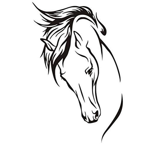 Calcomanía de pared de caballo, calcomanías de pared de PVC negro, calcomanía de vinilo con cabeza de caballo extraíble, calcomanía artística, calcomanías de pared para el hogar decoración