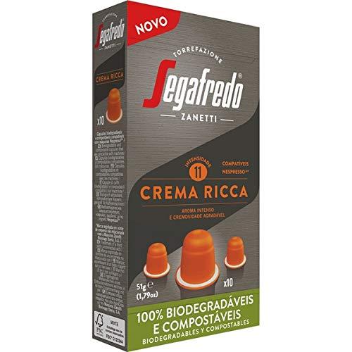 Segafredo - Crema Ricca- Kaffeekapseln Kompatibel mit Nespresso- Intensives Aroma und angenehme Cremigkeit - Biologisch abbaubare Kapseln - 10 Kapseln