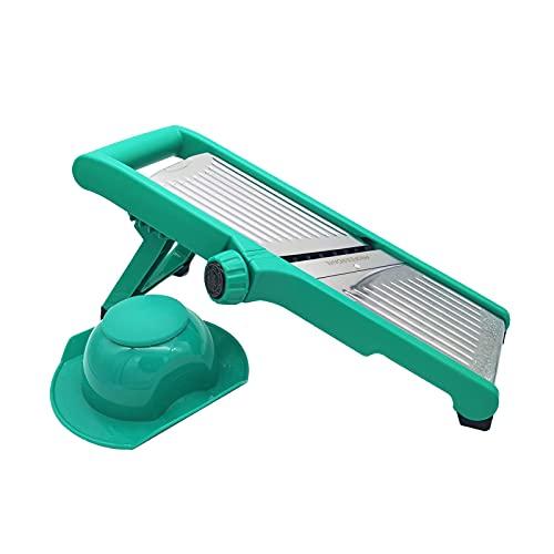 Mandolina - Cortador multifunción para verduras de cocina, juego de rallador de verduras con patas plegables, cuchillas de acero inoxidable para rebanadas y juliana, mango protector de dedos (verde)