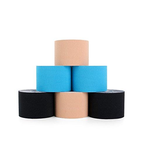 Superbe Bande Kinesiologie K Taping pour Cheville, Mollet, Genou 5cm x 5m (2 Noir, 2 Beige, 2 Bleu)