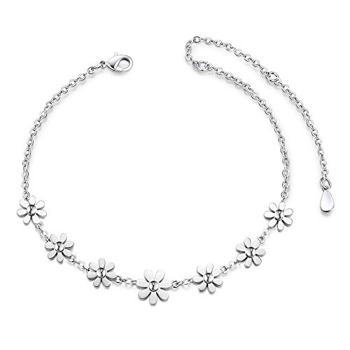 SHEGRACE Anklet Daisy Flowers Copper 210mm for Woman Jewellery Gift, Silver