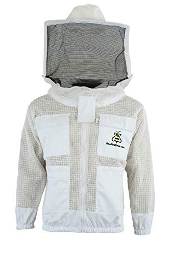Bee Keeping Chaqueta ultraligera y ultra ventilada con velo redondo con guantes gratis, XL, 1