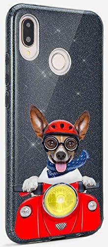 Mixroom - Custodia Cover Case in TPU Morbido con Brillantini Glitter Nero per Samsung Galaxy S7 Fantasia Jack Russel in Vespa codice BR643