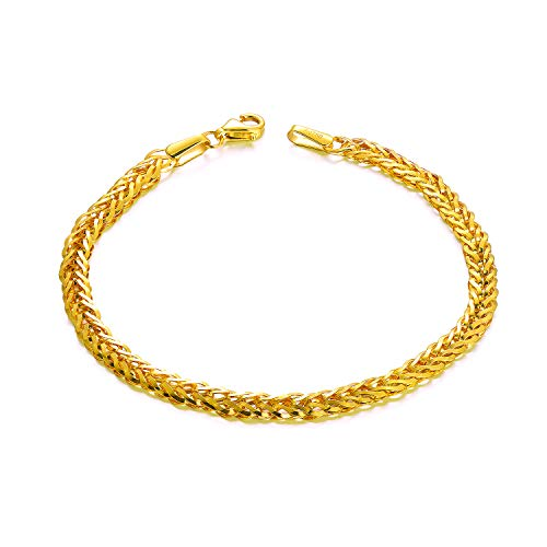 SISGEM Solid 18k Yellow Gold Celtic Chain Bracelet, Fine Gold Link Jewelry for Women (4 mm, 7 Inch)